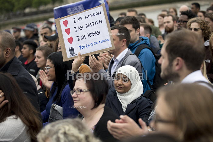 Vigil to honour victims of the London Bridge terrorist attack, City Hall, Potters Fields Park, London. I am London, I am British, I am Human. You ISIS are nothing. - Jess Hurd - 2017-06-05
