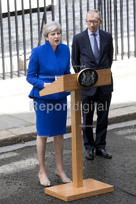 Theresa May announcing she will form a government with the DUP, No 10 Downing Street, London after the General Election Hung Parliament result - Jess Hurd - 2017-06-09