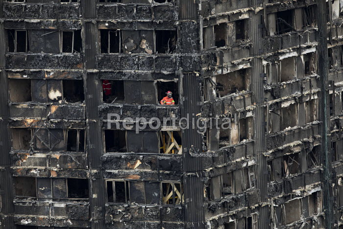 London Fire Brigade Urban Search and Rescue inside the building, Grenfell Tower Fire, West London - Jess Hurd - 2017-06-22