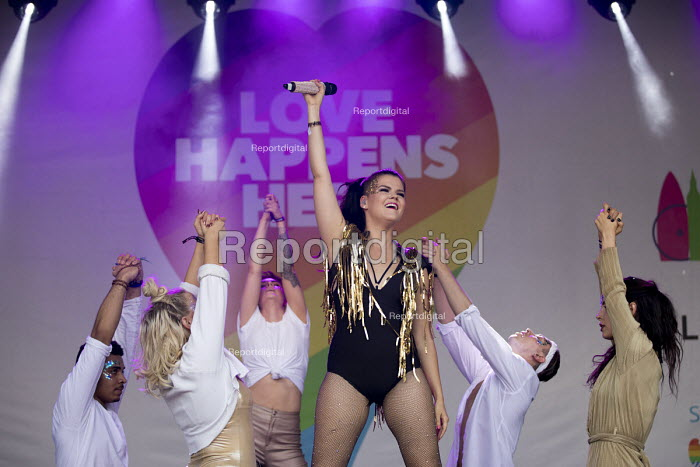 Saara Sofia Aalto, Finnish singer performing Pride in London, Love Happens Here, Trafalgar Square, London. - Jess Hurd - 2017-07-08