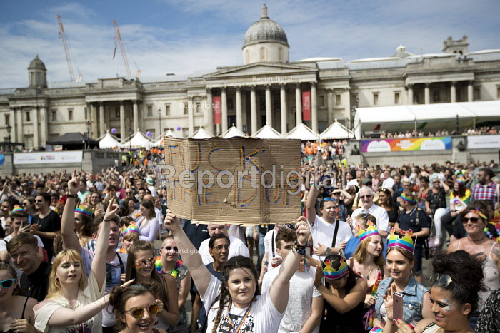 Fuck the DUP placard and rude response to Theresa May giving a video message, Pride in London, Love Happens Here, Trafalgar Square, London. - Jess Hurd - 2017-07-08