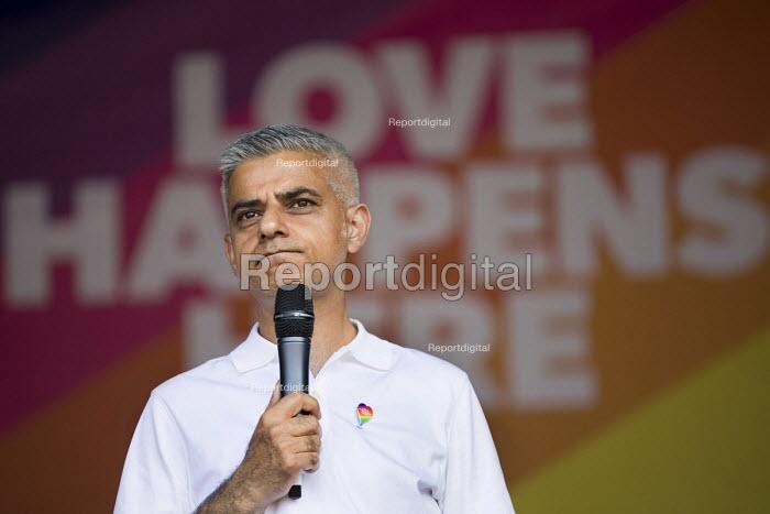 London Mayor, Sadiq Khan speaking Pride in London, Love Happens Here, Trafalgar Square, London. - Jess Hurd - 2017-07-08