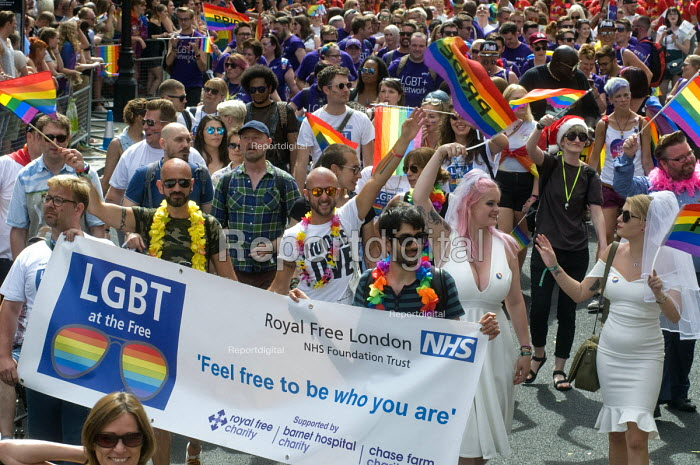 Pride 2017. NHS staff from Royal Free London Trust at Gay Pride celebration and march London - Stefano Cagnoni - 2017-07-08