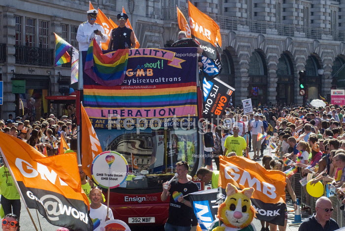 Pride 2017. GMB Trade union members at Gay Pride celebration and march London - Stefano Cagnoni - 2017-07-08