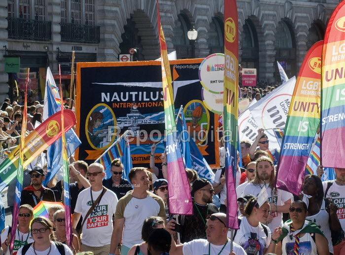 Pride 2017. RMT & Nautilus trade union members at Gay Pride celebration and march London - Stefano Cagnoni - 2017-07-08