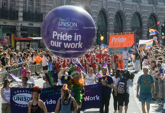 Pride 2017. UNISON trade union members at Gay Pride celebration and march London - Stefano Cagnoni - 2017-07-08