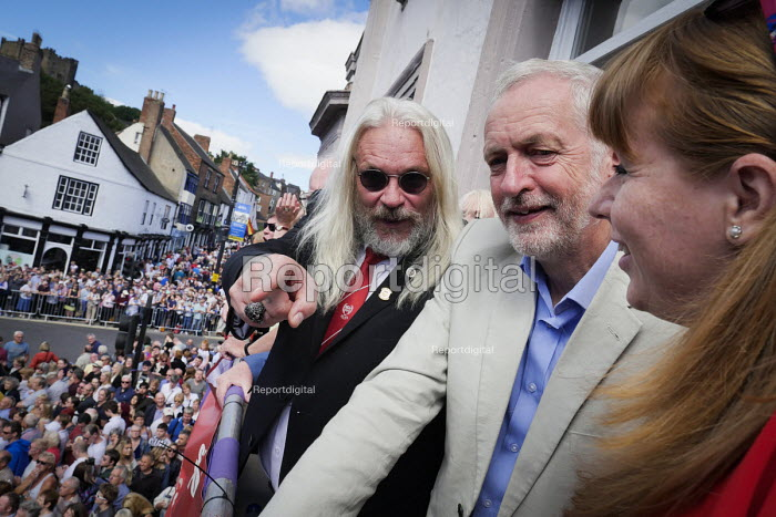 Jeremy Corbyn, Tosh McDonald ASLEF, Angela Rayner MP, Durham Miners Gala, Durham 2017 - Mark Pinder - 2017-07-08