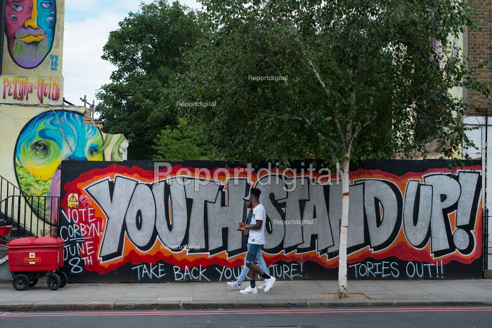 Youth Stand Up, Vote Corbyn, Take back your future, Tories Out! Street art, Camden Town, London - Philip Wolmuth - 2017-07-14