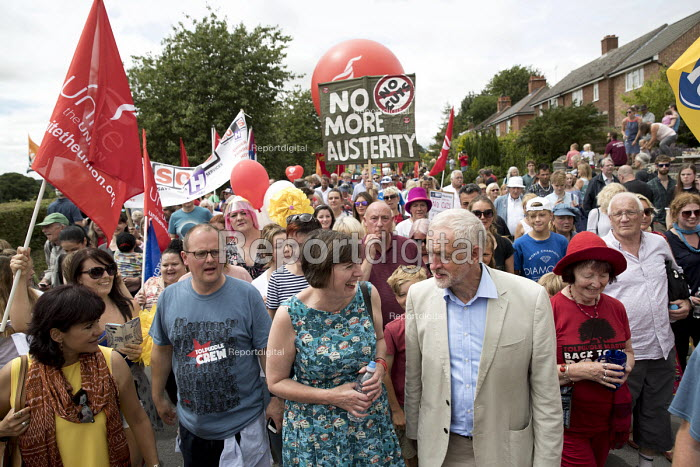Paul Nowak, Frances OGrady TUC and Jeremy Corbyn, Tolpuddle Martyrs Festival, Dorset - Jess Hurd - 2017-07-16