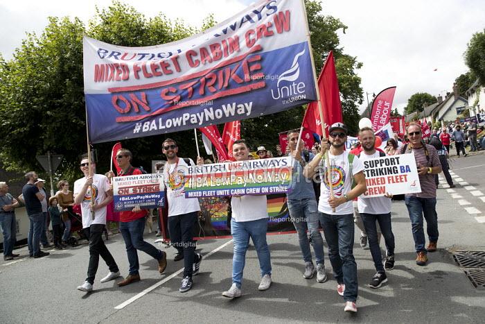 Mixed Fleet BA Cabin Crew on strike banner, Tolpuddle Martyrs Festival, Dorset. - Jess Hurd - 2017-07-16
