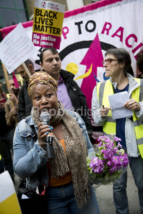 Claire Grey, local teacher speaking, Justice for Rashan Charles protest, who died after being chased by police, Stoke Newington, London - Jess Hurd - 2017-07-24
