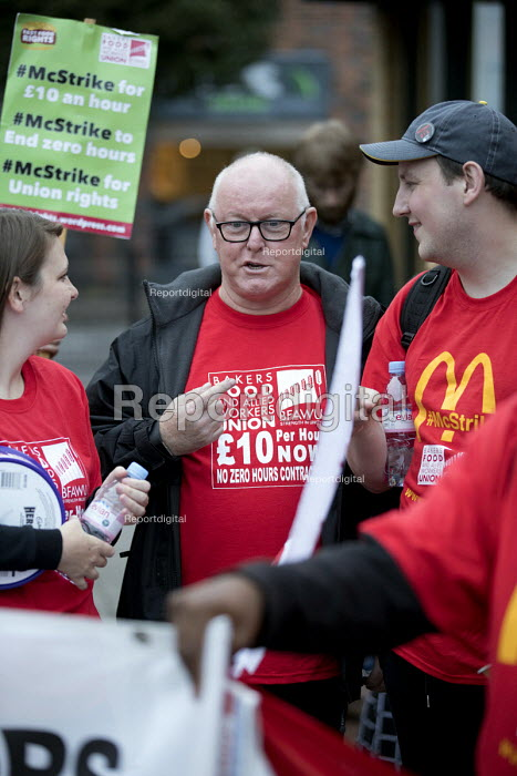 Ronnie Draper BFAWU, McDonalds workers strike, Crayford, South East London. Fast Food Rights Campaign want 10 pounds an hour, end to zero hour contracts and union rights - Jess Hurd - 2017-09-04