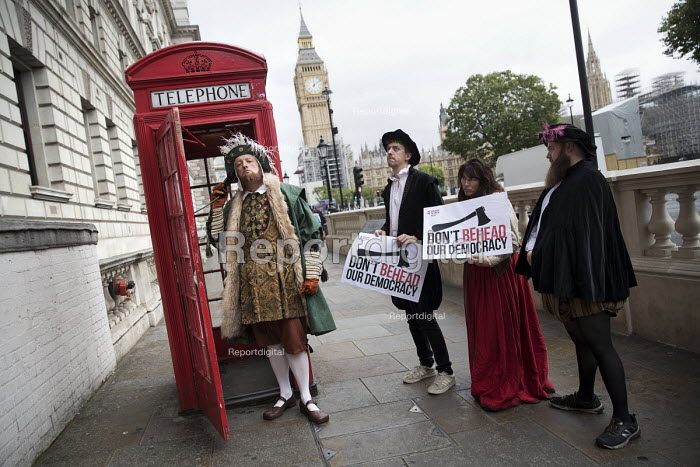 Campaigners dressed up in Tudor costume to protest against the EU Withdrawal Bill with controversial powers called Henry VIII clauses, organised by Another Europe is Possible, Westminster, London. Dont Behead Democracy! - Jess Hurd - 2017-09-07