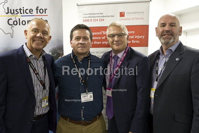Tim Roache GMB, Huber Ballesteros, Stephen Cavalier Thompsons Solicitors, Mick Whelan ASLEF, Justice for Colombia TUC Congress, Brighton 2017 - John Harris - 2017-09-12