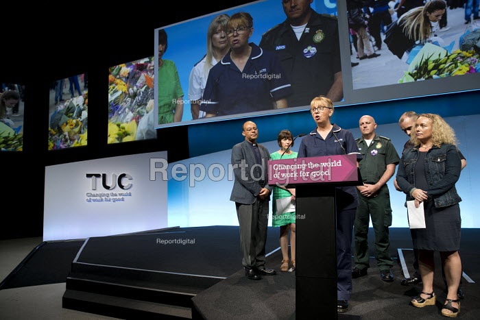 Joe OBrien,UNITE, Senior Sister Stepping Hill Hospital, Stockport, Manchester. Frances OGrady and Congress pay tribute to public and emergency service workers, TUC Congress, Brighton 2017. - Jess Hurd - 2017-09-11