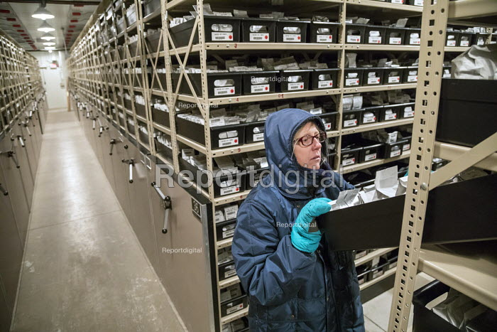 Fort Collins, Colorado, USA Biological science technician looking for seeds stored at 0 degrees F in a freezer, National Laboratory for Genetic Resources Preservation. The Laboratory is part of the Department of Agriculture. - Jim West - 2017-08-24