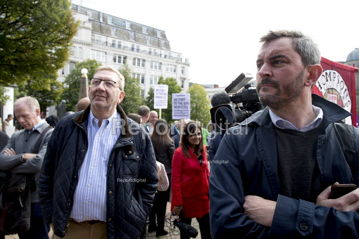 Len McCluskey Unite (L) Alex Flynn Head of media and Campaigns, Rally supporting bin workers strike, Victoria Square, Birmingham. The Labour council have issued redundancies to 113 binmen - John Harris - 2017-09-17