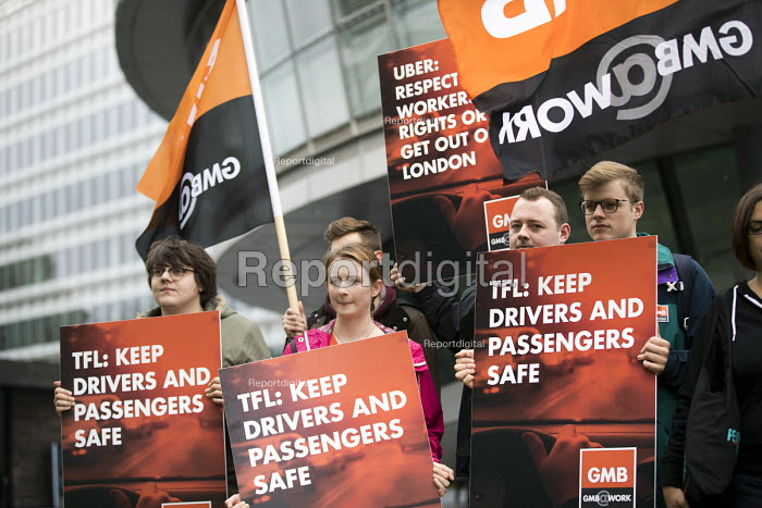 GMB and SumOfUs petition Transport For London against renewal of the Uber operating licence, drivers rights and protecting the public, City Hall, London. The petition has more than 106,000 signatures - Jess Hurd - 2017-09-18
