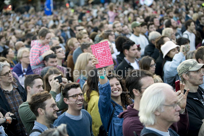 Rally with Jeremy Corbyn at the opening of Labour Party Conference, Brighton. Supporter with a copy of the manifesto - Jess Hurd - 2017-09-23