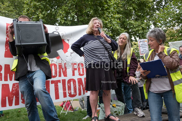 Northumberland Park Estate resident Lynn speaking, StopHDV protest against proposed privatisation of Haringey council estates, Tottenham, London - Philip Wolmuth - 2017-09-23