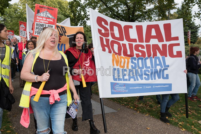 Social Housing Not Social Cleansing. StopHDV protest against proposed privatisation of Haringey council estates, Tottenham, London - Philip Wolmuth - 2017-09-23