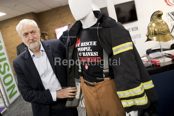 Jeremy Corbyn visits the FBU stand with Matt Wrack at Labour Party Conference, Brighton 2017 - Jess Hurd - 2017-09-25