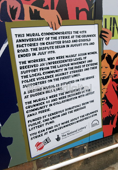 Grunwick 40 community mural in Chapter Road Brent north London opposite the site of the former Grunwick Factory that was the scene of the union recognition dispute 40 years ago between 1976 and 1978 - Stefano Cagnoni - 2017-09-30