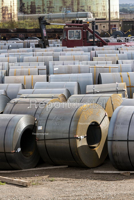 Sault Ste. Marie, Ontario Canada Steel rolls on the dock, Algoma steel mill on the shore of the St. Marys River - Jim West - 2017-09-05