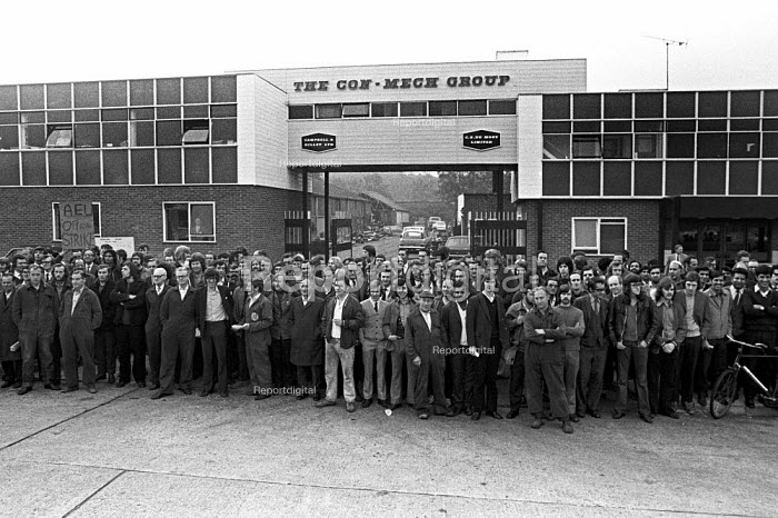 Mass meeting and picket at Con Mech Group, Woking, Surrey 1973 for recognition of the AEU. The union had been fined by the National Industrial Relations Court (NIRC) for refusing to call off the strike, and it was the Con Mech dispute that finally forced the government to back down - Martin Mayer - 1973-10-05