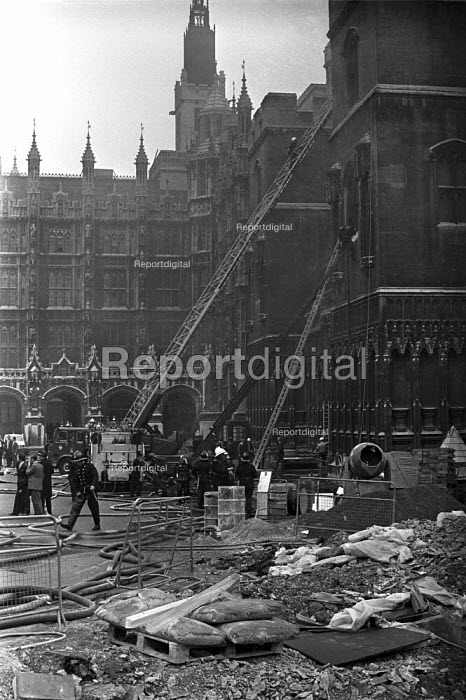 Bomb explosion at Houses of Parliament, 1974, causing extensive damage and injuring eleven people, London - NLA - 1974-06-17