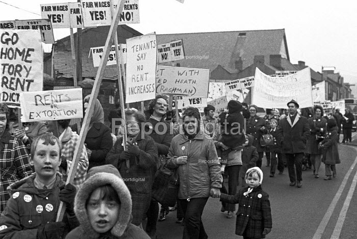 Community protest at the rent increase for council house tenants, Merthyr Tydfil, South Wales, 1973 - NLA - 1973-01-13