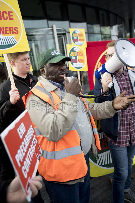 RMT Justice for Tube cleaners protest, City Hall, London, against outsourcing on London underground, for sick and holiday pay, travel passes and 10.00 pounds per hour - Jess Hurd - 2017-10-12