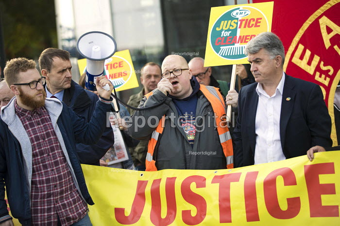 Mick Cash, RMT Justice for Tube cleaners protest, City Hall, London, against outsourcing on London underground, for sick and holiday pay, travel passes and 10.00 pounds per hour - Jess Hurd - 2017-10-12