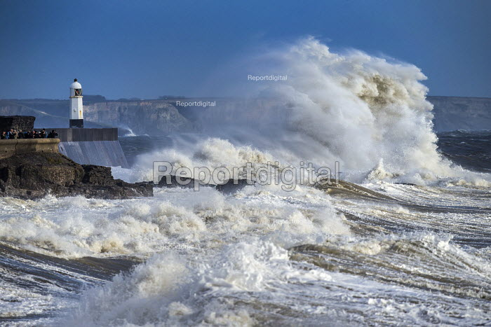 Waves from Storm Ophelia smashing into lighthouse and... - Paul Box, PB1710011.jpg