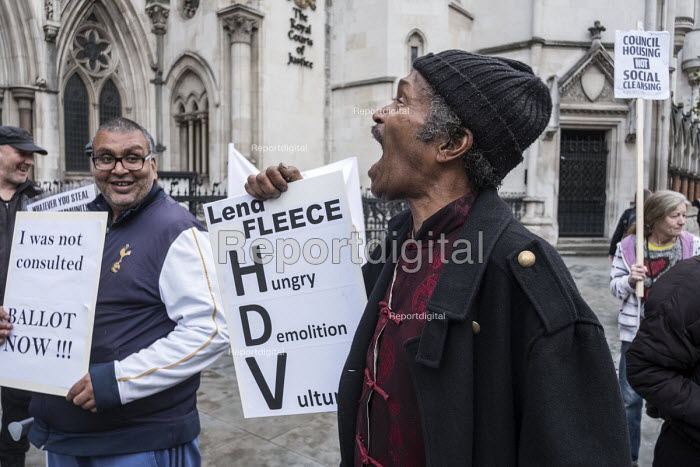 StopHDV protest against gentrification of council estate, High Court, London, as judicial review of the Haringey Development Vehicle which will hand over Council housing estates to property developer Lendlease, begins - Philip Wolmuth - 2017-10-25