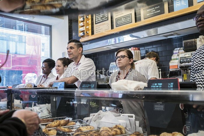 Workers serving customers, Pret a Manger sandwich bar, Oxford Street, London - Philip Wolmuth - 2017-09-22