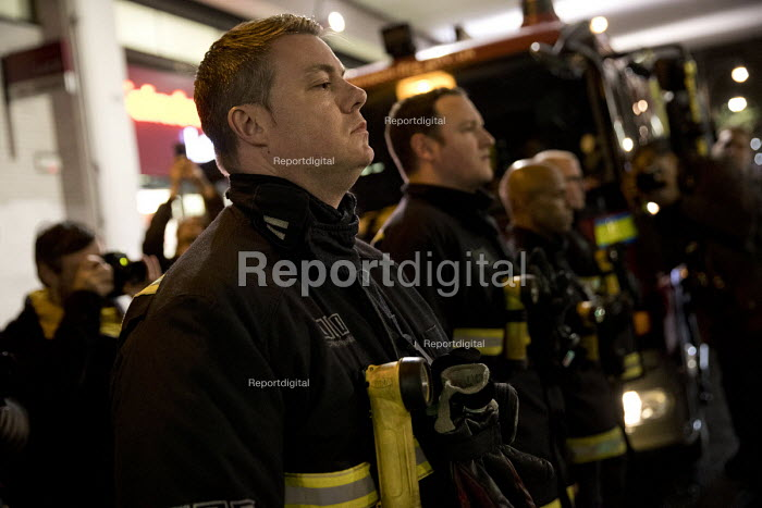 Firefighters stand in respect, Justice for Grenfell silent walk, Kensington and Chelsea, London - Jess Hurd - 2017-11-14
