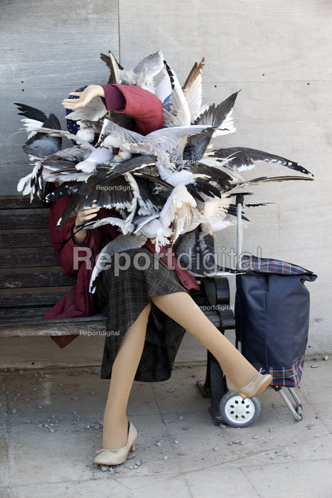 Dismaland a parody of Disneyland theme park by Banksy, Weston Super Mare. Seagull attack at the Bemusement Park. - Paul Box - 2015-09-07