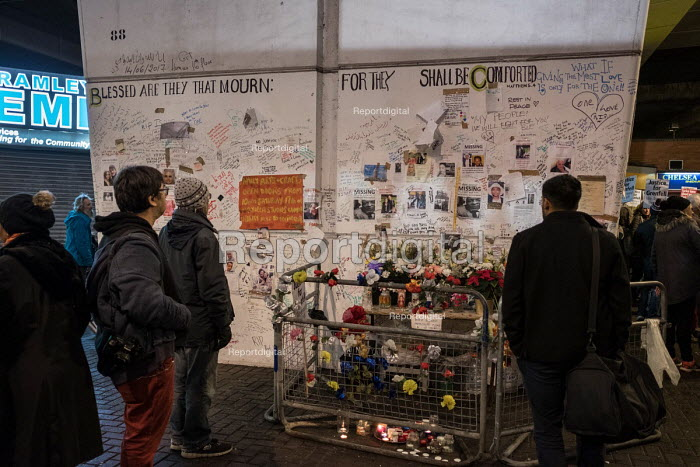 Memorial wall, Latimer Road. Silent vigil commemorating the victims of the Grenfell Tower fire, North Kensington, London - Philip Wolmuth - 2017-11-14