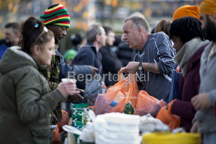 Homeless and hungry queuing for food, Coventry. The soup... - John Harris, J1712HL10.JPG