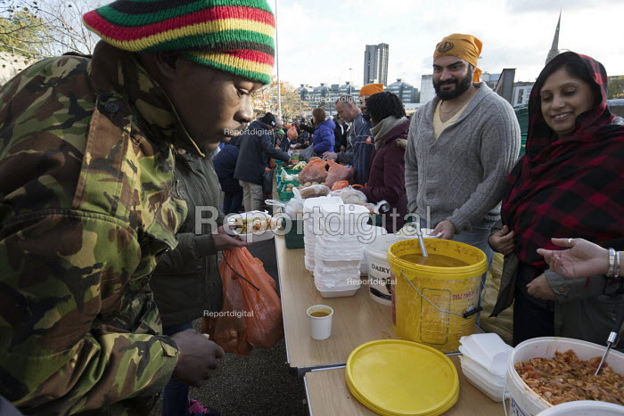Homeless and hungry queuing for food, Coventry. The soup... - John Harris, J1712HL19.JPG