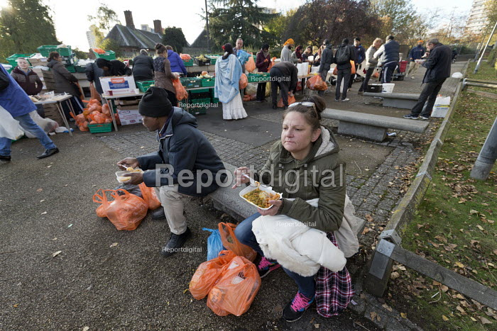 Homeless and hungry queuing for food, Coventry. The soup... - John Harris, J1712HL22.jpg