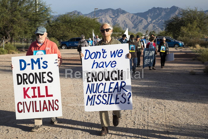 Tucson, Arizona USA Peace protest Davis-Monthan Air Force Base, protesting against war, drones, and nuclear weapons - Jim West - 2017-11-13