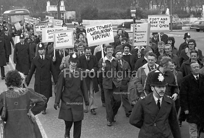 Vauxhall workers march for jobs to Parliament London 1975 with placards accusing the Labour Government of being the same as the Conservatives - NLA - 1975-03-06