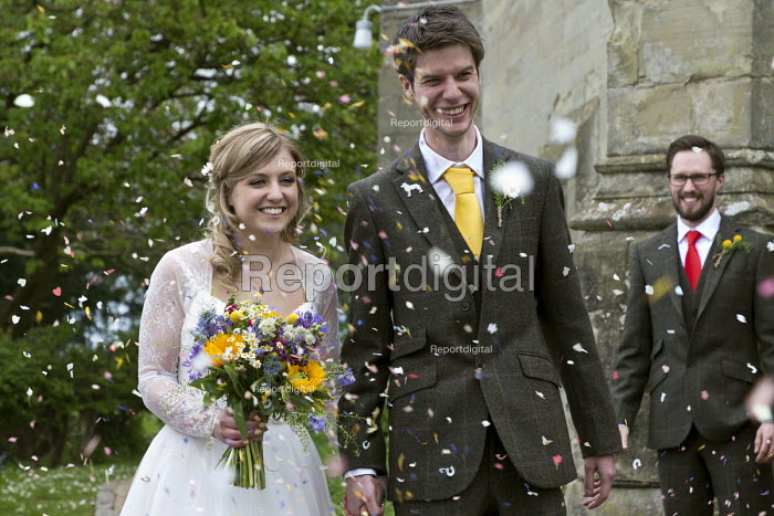 Alison and Fred Buxton wedding, bride and groom, confetti - John Harris - 2017-04-29