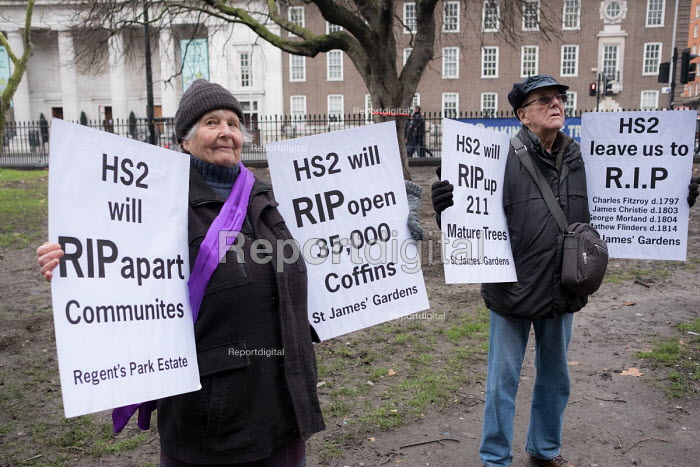 Local residents protest at loss of over 200 mature trees, a burial ground and park around Euston station to make way for HS2 construction work, London - Philip Wolmuth - 2018-01-12