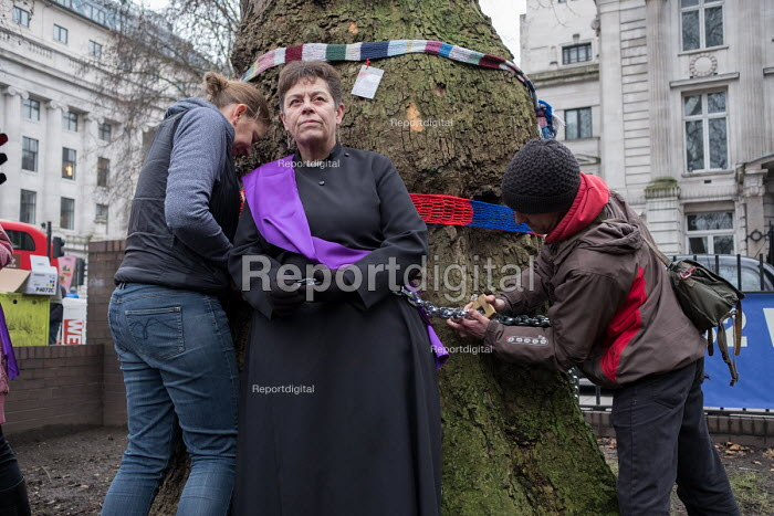Vicar chained to tree in HS2 Euston protest. Rev Anne Stevens, Vicar of St Pancras, chained to one of more than 200 mature trees before felling begins to make way for HS2 construction trucks at Euston station, London - Philip Wolmuth - 2018-01-12