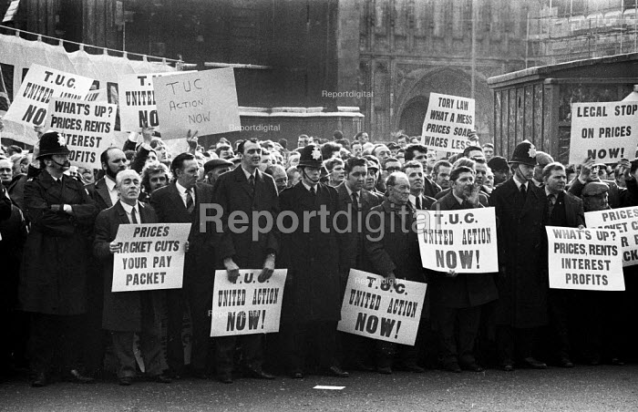 London 1973 Trade union members lobby TUC Special Congress held to discuss industrial relations with the Labour Government - Chris Davies - 1973-03-06