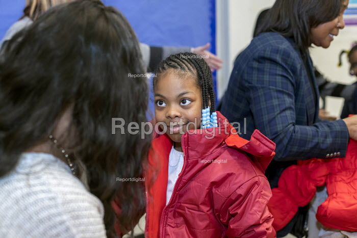 Detroit, Michigan, USA Hyundai Motor America Annual Coats for Kids program distributing 1,000 winter coats to school children, Carstens Elementary Middle School, in conjunction with Carstens Acadamy and Orchards Childrens Services - Jim West - 2018-01-17