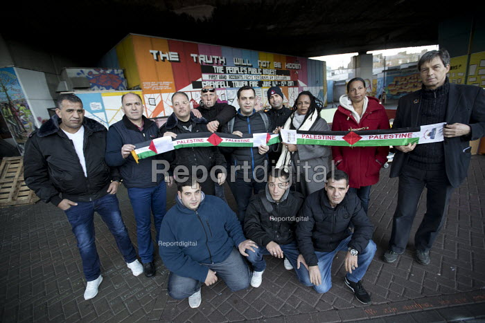 Palestinian firefighters visiting Grenfell in solidarity. They have been training in Scotland with the support of the FBU and Scottish Government. Kensington, London - Jess Hurd - 2018-01-19